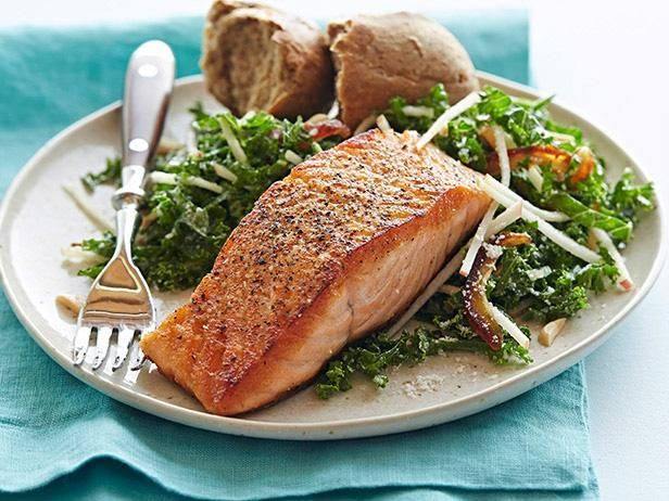 Pan-Seared Salmon with Kale and Apple Salad #myplate #letsmove #protein #grains #veggies #fruit: Food Network, Apple Salad Recipes, Kale Salads, Healthy Dinners, Dinners Recipes, Network Kitchens, Pan Seared Salmon, Apples Salad Recipes, Healthy Recipes