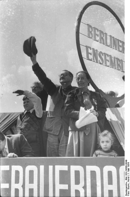 Bertolt Brecht and his wife Helene Weigel at the amazing Berliner ensemble theatre in Berlin.