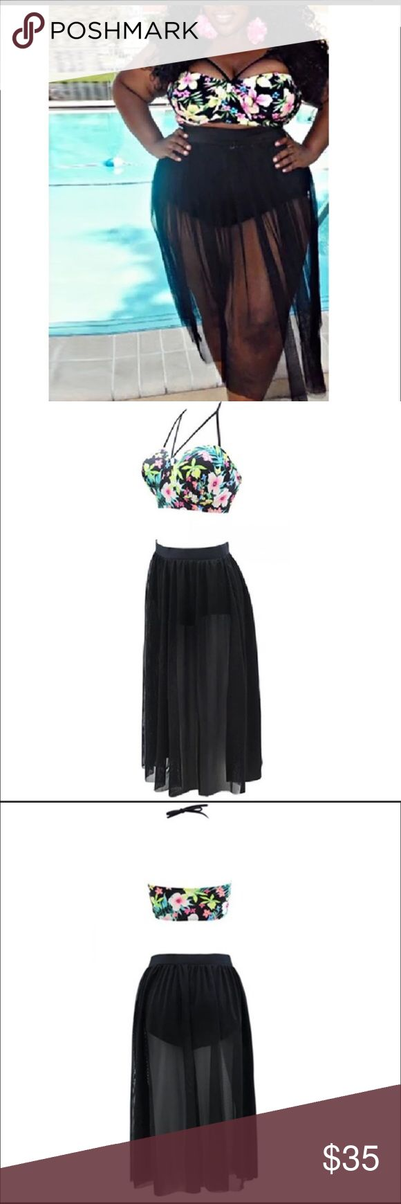 NWT Plus Size Two Piece NWT Two piece swimsuit with built on mesh cover.  This swim suit run small.  I'm a size 14/16 and the 4XL is what fit me.  The top is a halter top that is adjustable. Swim Bikinis