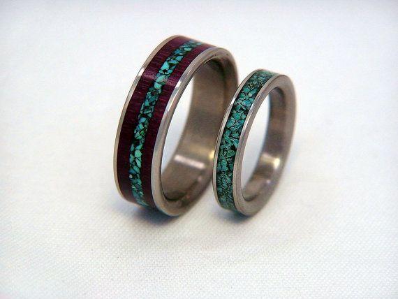 Titanium or Carbon Fiber Wedding Band or Ring Set by HolzRingShop, $375.00