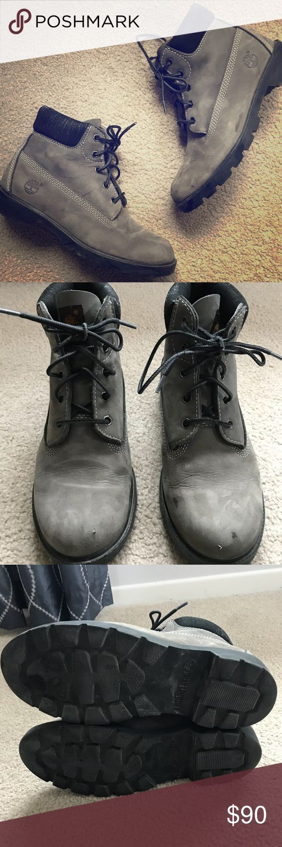 Timberland Boots Grey Suede Size 6 in men's, equivalent to 8 in woman's. Worn a few times but still in good condition (see pictures).  I just have too many boots and want to sell. Retail was $190. Feel free to ask any questions and offers are welcomed😊 Timberland Shoes Boots