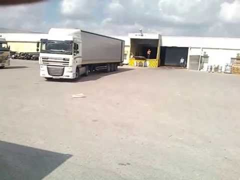 idiot bulgarian truck driver tries to park the truck