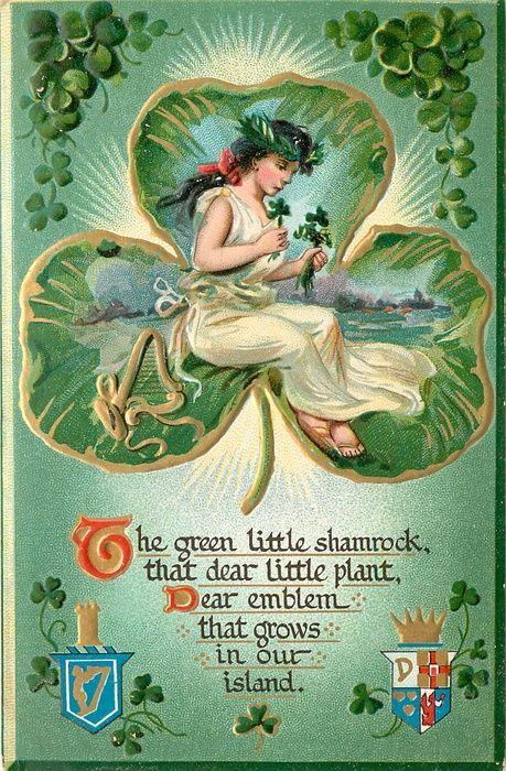 THE GREEN LITTLE SHAMROCK, THAT DEAR LITTLE PLANT, DEAR EMBLEM THAT GROWS IN OUR ISLAND  girl in shamrock shaped inset