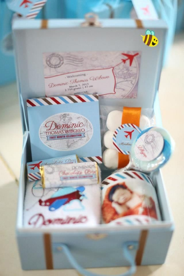 Baby one month hamper. To celebrate new baby boy (Dominic) theme: airplane