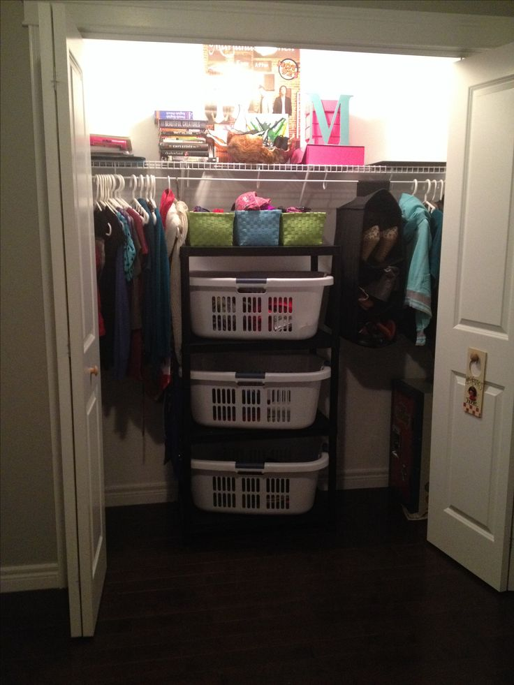 for teenagers who do not take their clothes out of the laundry baskets or i like it because of the simple shelf idea