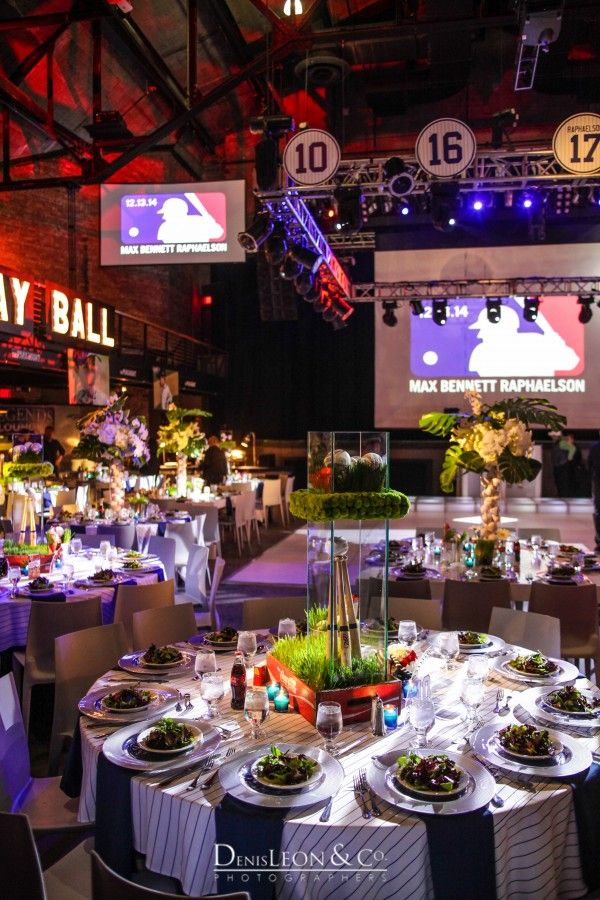 Modern Baseball Theme Bar Mitzvah Party NYC {The Showplace Event Decor, The Paramount NY} - mazelmoments.com