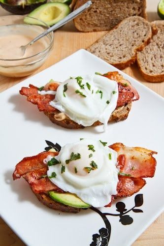 poached eggs on toast with chipotle mayo, bacon, and avocado.