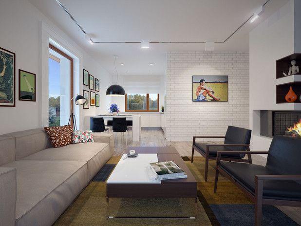 Reprezentacyjną część tego projektu tworzy przestronny salon połączony z jadalnią i kuchnią. Pokój dzienny otwiera się na tworzący jego zewnętrzne przedłużenie atrakcyjny taras, który częściowo zacieniono stylową, drewnianą pergolą.