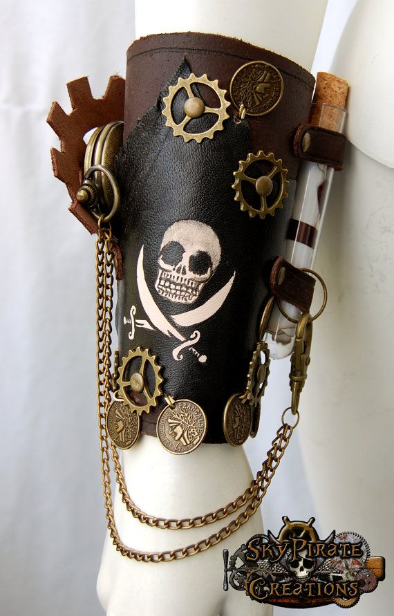 Steampunk Pirate Leather Bracer by SkyPirateCreations on Etsy, €55.00