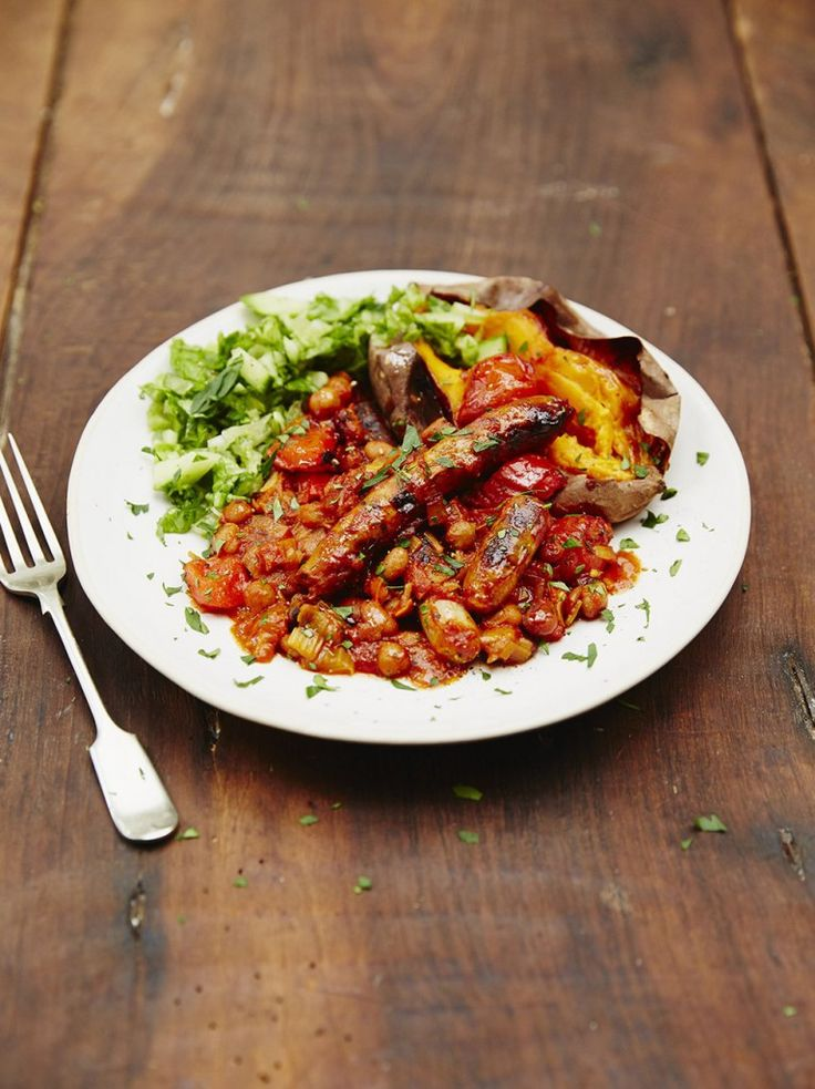 Jools' sausage & smoky bean casserole with tin of baked beans added | Jamie Oliver