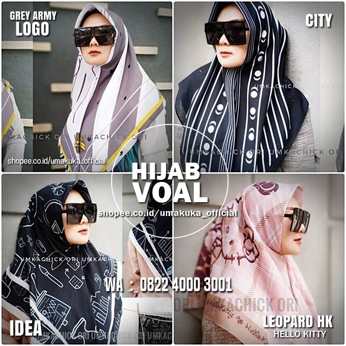 Hijab Voal Premium Jilbab Motif Segi Empat Elegan Kerudung Hijab Gambar