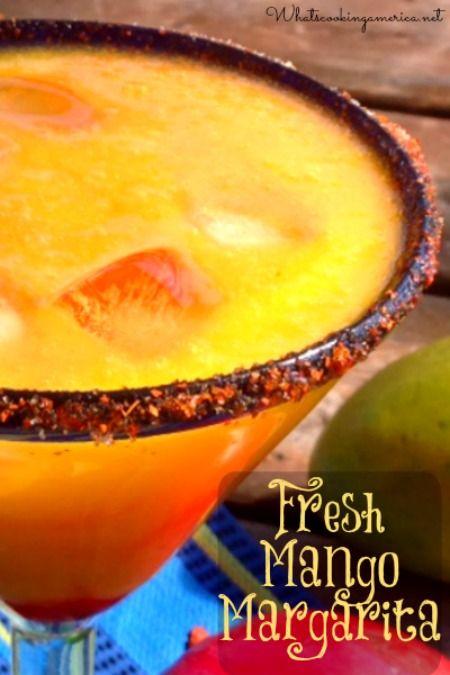 Fresh Mango Margarita Recipe  | whatscookingamerica.net  | #mango #margarita #cincodemayo