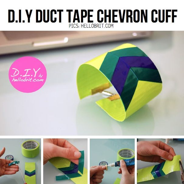 DIY Duct Tape Chevron Cuff- all my teens voted for this as our first Duct Tape Club project. They have good taste, no?