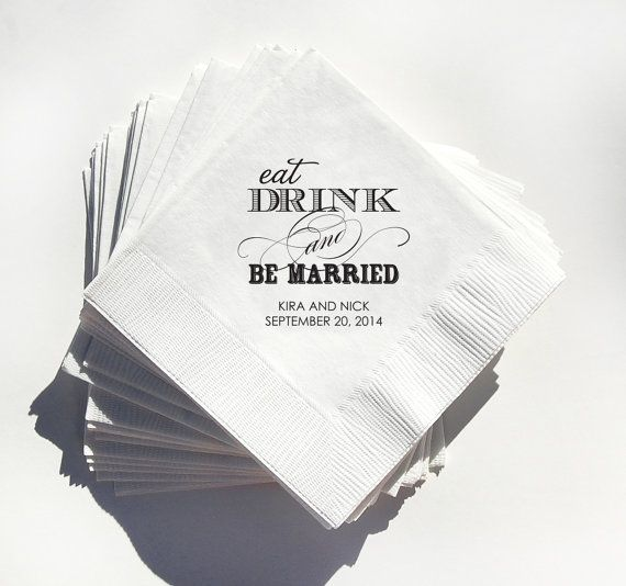 Wedding Cocktail Napkins - Beverage Napkin 200 - Eat, Drink and Be Married on Etsy, $115.00
