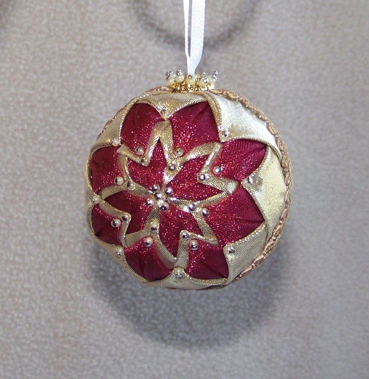 Small Handmade Quilt Quilted Star Ball Christmas Ornament Organza Gold Metallic
