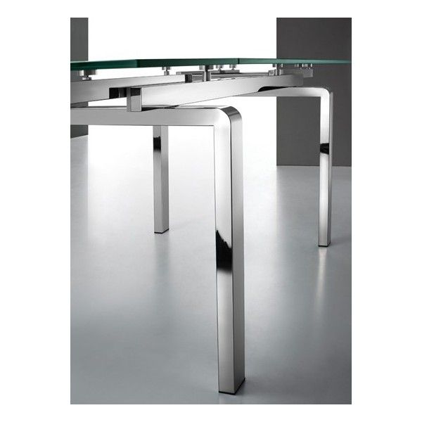 Table extensible rallonges int gr es en verre et pieds inox ballet pinterest tables - Table extensible rallonges integrees ...