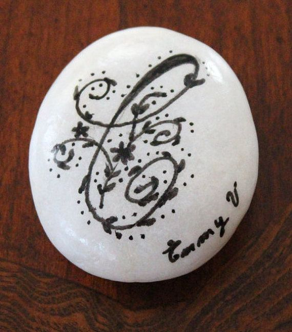 Hand painted stone Calligraphy Initials by EmmysHeartsnCrafts