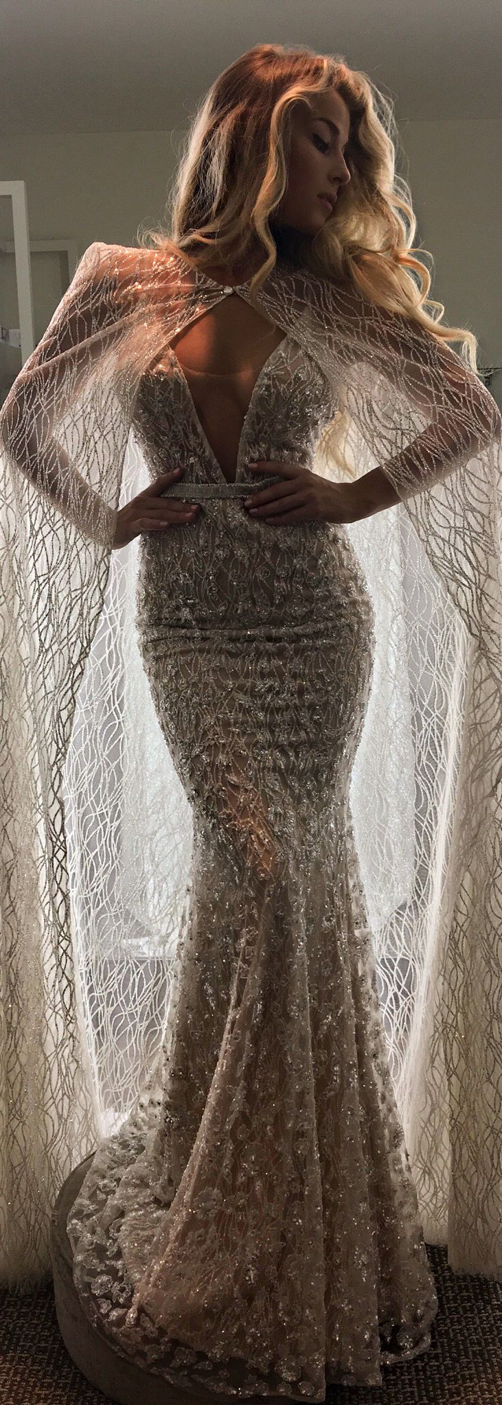 This @bertabridal wedding dress was already pretty special... but then you add a cape - wow!