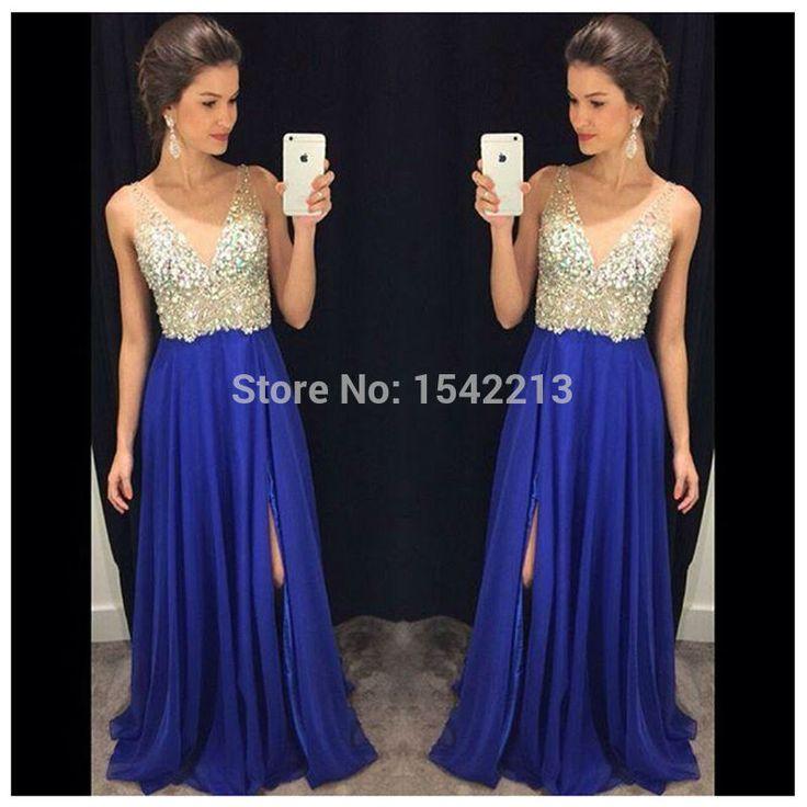 Royal Blue Sexy Prom Dress Crystals with Side Silt Long Evening Gowns Vestido De Festas Longo 2017