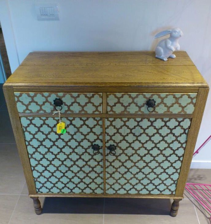 Stenciled Oak cabinet by https://www.facebook.com/HeidiAltmannInteriorDesign