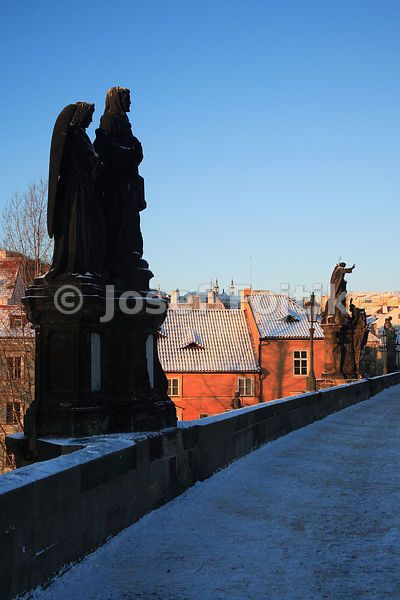Charles Bridge and houses on Kampa Island, Prague, Czech Republic