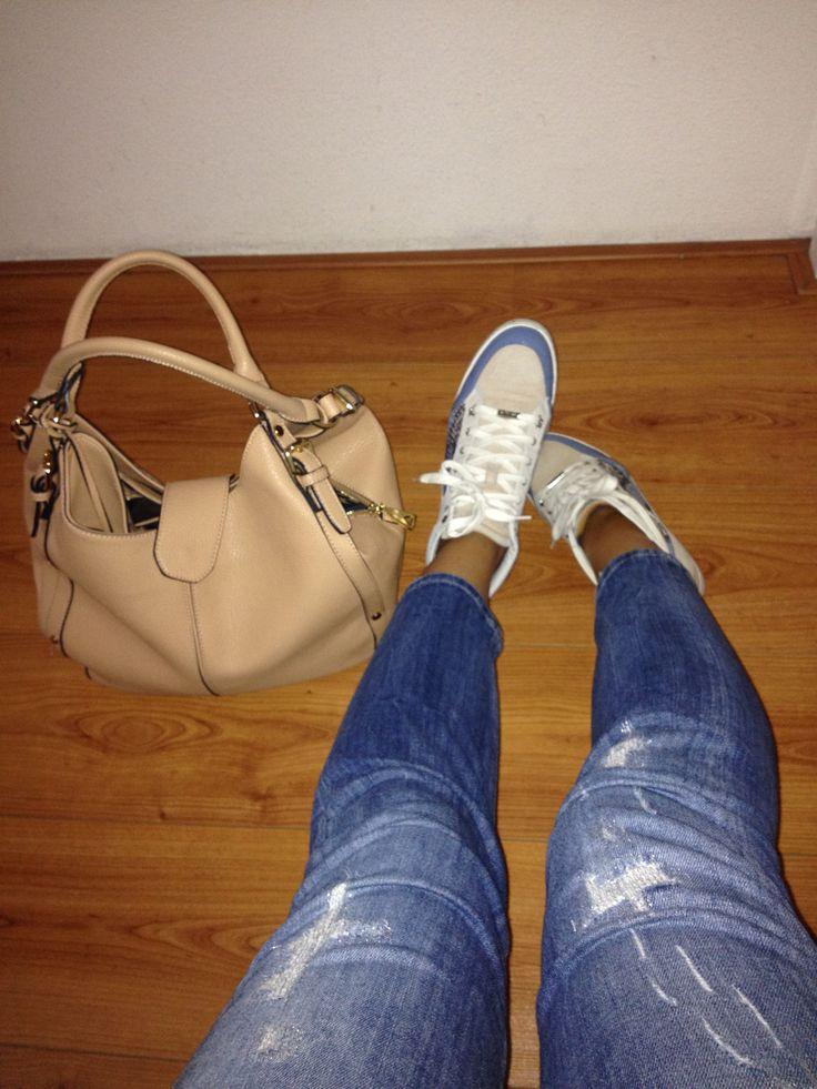 My daily luxuries_ beige and blue Choo's, Liu jo jeans and Mango bag