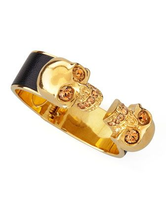 Hinged Double-Skull Bracelet, Black by Alexander McQueen | cynthia reccord