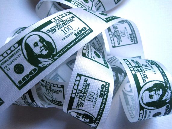 American Money Dollar Bills Ribbon, Green / White, 1 3/8″ inch wide, 1 yard, For Mixed Media, Scrapbook, Home Decor, Accessories