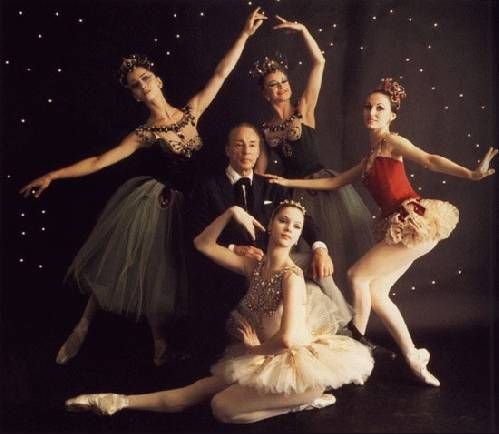 """Balanchine and the original cast of """"Jewels"""". Suzanne Farrell as """"Diamonds"""", Patricia McBride as """"Rubies"""", Mimi Paul and Violette Verdy as """"Emeralds""""."""