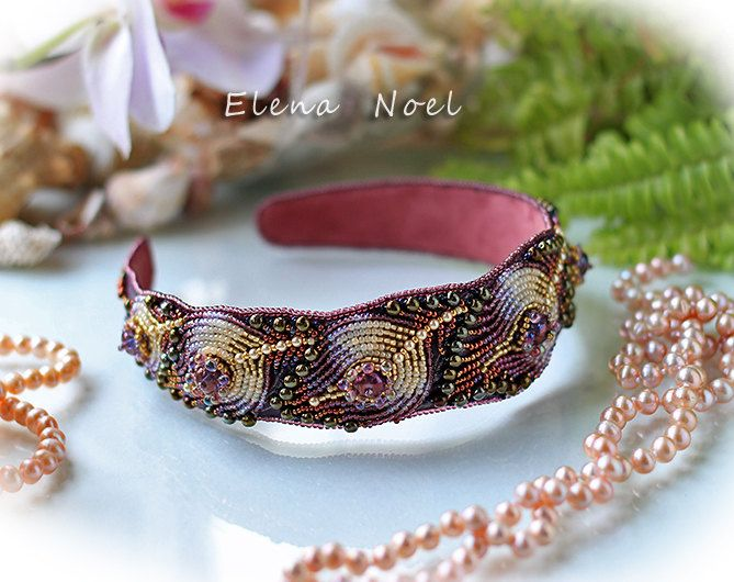 Embroidered headband Feathers by ElenNoel on Etsy