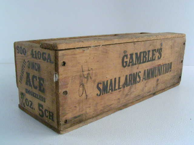 vintage antique old wood ammunition box is a 410 gauge 3 inch Ace smokeless Gambles small arms ammunition