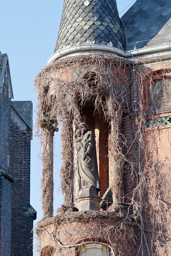 The court tower closeup in Nysa, Poland