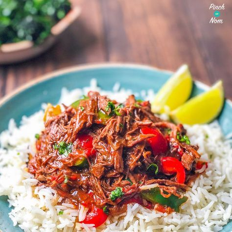 ThisSyn Free Cuban Beef (Ropa Vieja) is one of the best Slimming World dishes that you can cook in your slow cooker, or Instant Pot / Pressure King Pro!