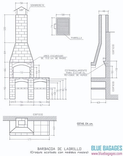 M s de 1000 ideas sobre como hacer una chimenea en - Medidas barbacoa de obra ...