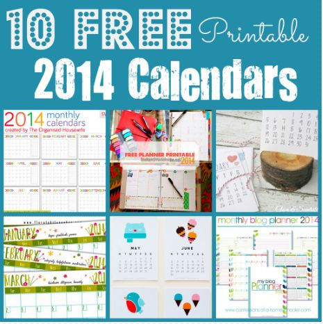 justfordaisy: 10 FREE Printable Calendars for 2014. (these are so gorgeous! and a free blog planner as well!)