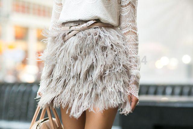 MZY1029 plumas de Avestruz vestido de las mujeres falda corta mini falda inferior sólo