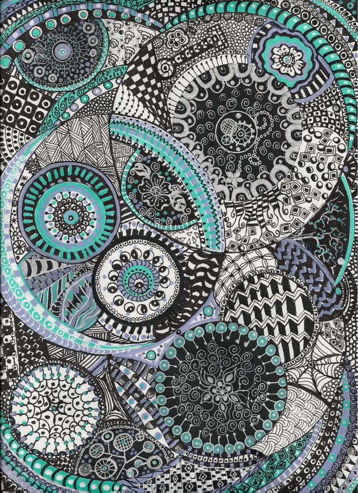 9 x 12 Zentagle Inspired Art Circle Tangle Doodle by Lynne Howard