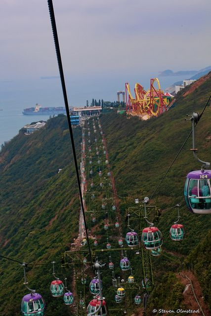 Ocean Park cable cars, Hong Kong, 2014, photograph by Steven Olmstead.