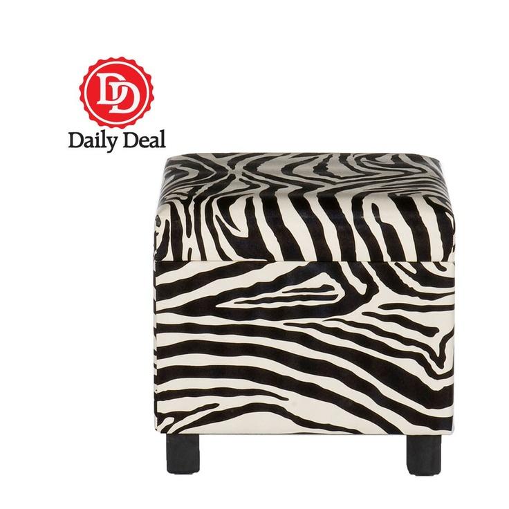 Zebra Storage Ottoman   Daily Deal