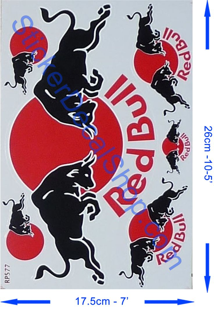 Red bull sticker with black bull and red sun printed on transparent background