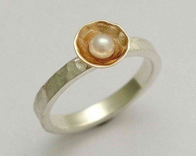 Sterling zilveren Ring, rose gouden ring, verlovingsring, één parel ring, twotone ring, ring gehamerd, sierlijke ring, Pure en onschuldige R1324A