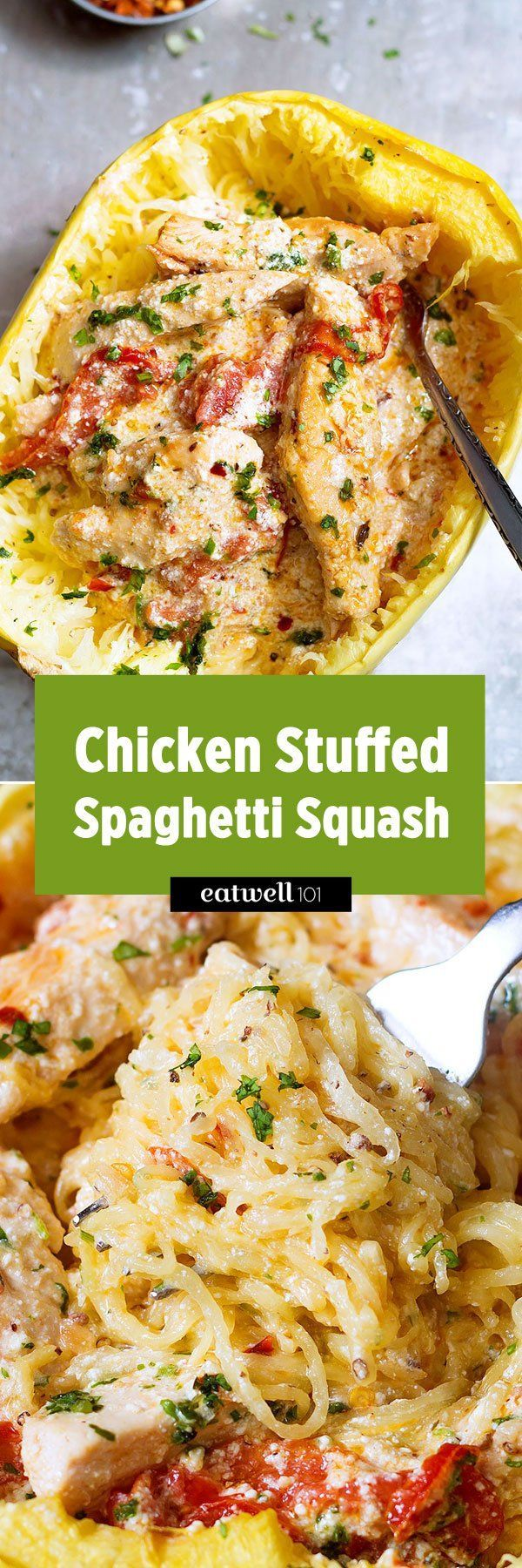 A great gluten free, low carb comfort food dinner! Spaghetti squash is stuffed with a creamy, cheesy, chicken and dried tomato filling. It's next-level delicious and perfect if you don't like doing…