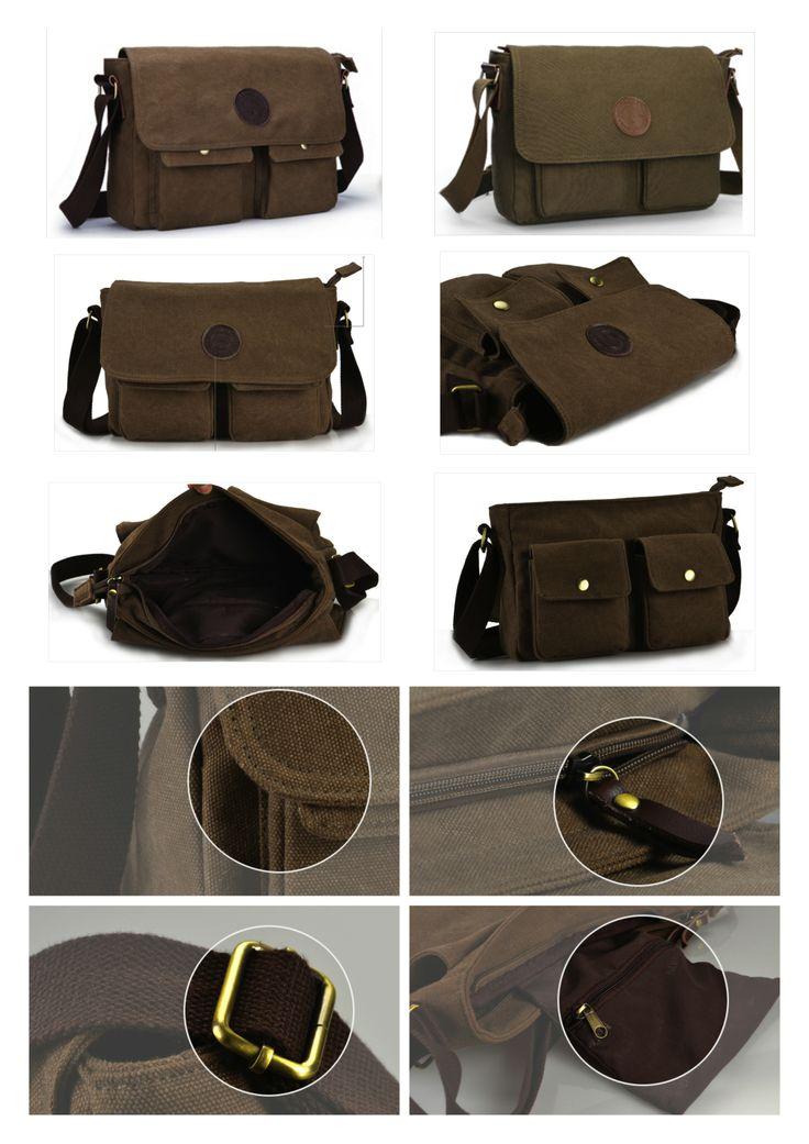 Cómodo bolso casual para hombres. Material tela canvas 100% de algodón. Flexible y muy práctico, ya que cuenta con una correa ajustable para el hombro.