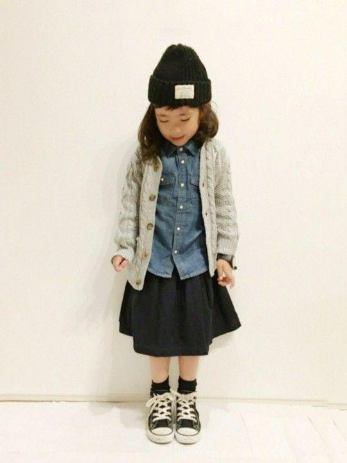 yuuunaさんの「ベーシック長袖デニムシャツ(petit main)」を使ったコーディネート