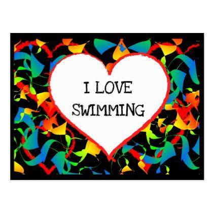 I Love Swimming Sports Editable Modern Abstract Postcard - postcard post card postcards unique diy cyo customize personalize
