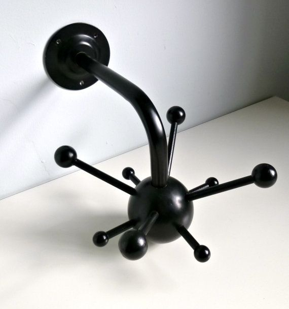 Mid Century Modern Black Atomic Sputnik Style Coat/Hat Rack By Osvaldo  Borsani Of Tecno