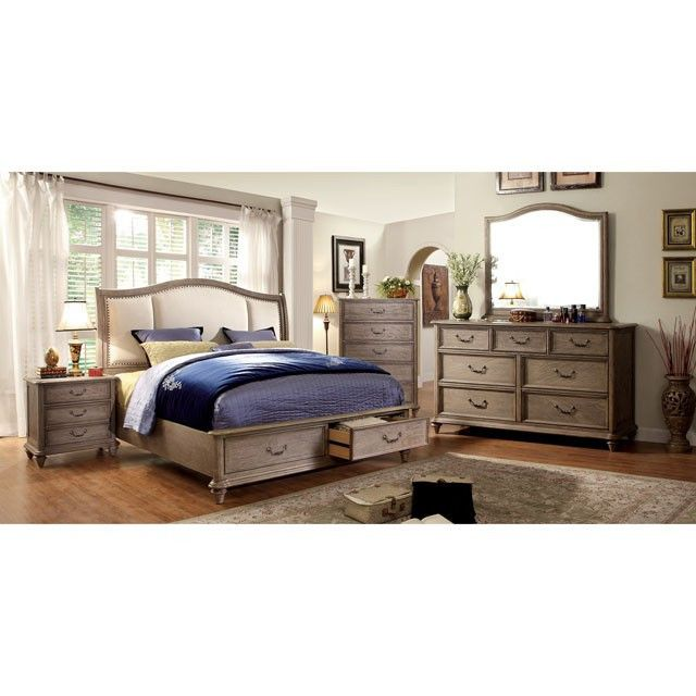 Belgrade I 4Pcs Queen Bedroom Set CM7614 for $1786 (Queen Bed,Night Stand,Dresser,Mirror) Descriptions : Create a timeless and classic feel to your home with this bedroom set with natural wood finish. The camelback-shaped headboard can either be wooden or with padded ivory fabric. Matching rustic hardware completes this fabulous set. Features : Transitional Style Storage Platform Bed 2 Drawers In Footboard Padded Fabric Headboard Solid Wood, Wood Veneer & Others Rustic Natural Tone Finish
