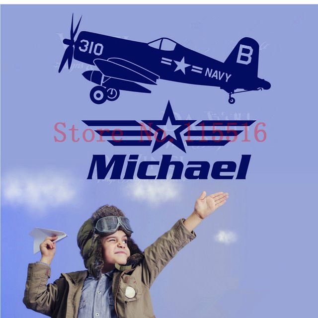 E500 Custom name Personalised Wall Stickers Home decor Mural DIY poster Vinyl kids Room Airplane Aircraft Planes Navy Warbird