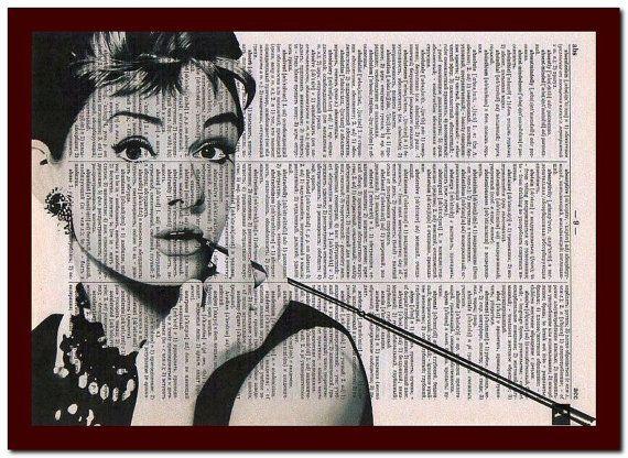 Audrey Hepburn Poster Wörterbuch Art Print Audrey Hepburn Home Dekor: musikalische Notizen Art Print Wand Dekor Mixed Media Art