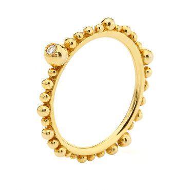 Μοντέρνα χρυσή βέρα δαχτυλίδι Huffy Κ9 με ασύμμετρες σφαίρες περιμετρικά της γάμπας και διαμάντι | Δαχτυλίδια ΤΣΑΛΔΑΡΗΣ στο Χαλάνδρι #δαχτυλιδι #huffy #διαμαντι #μπιλιες